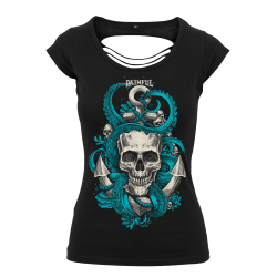 Octoskull Girl ladies back cut t shirt
